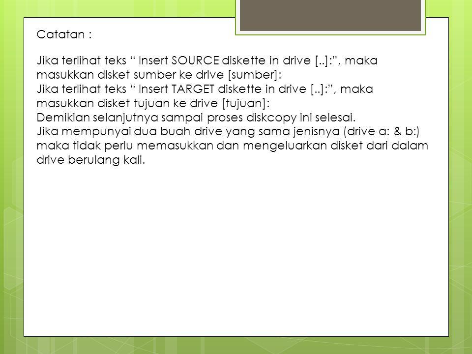 Catatan : Jika terlihat teks Insert SOURCE diskette in drive [..]: , maka masukkan disket sumber ke drive [sumber]: